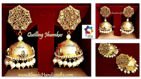 Gold Quilling Jhumkas, Beautiful Paper kundan Earrings