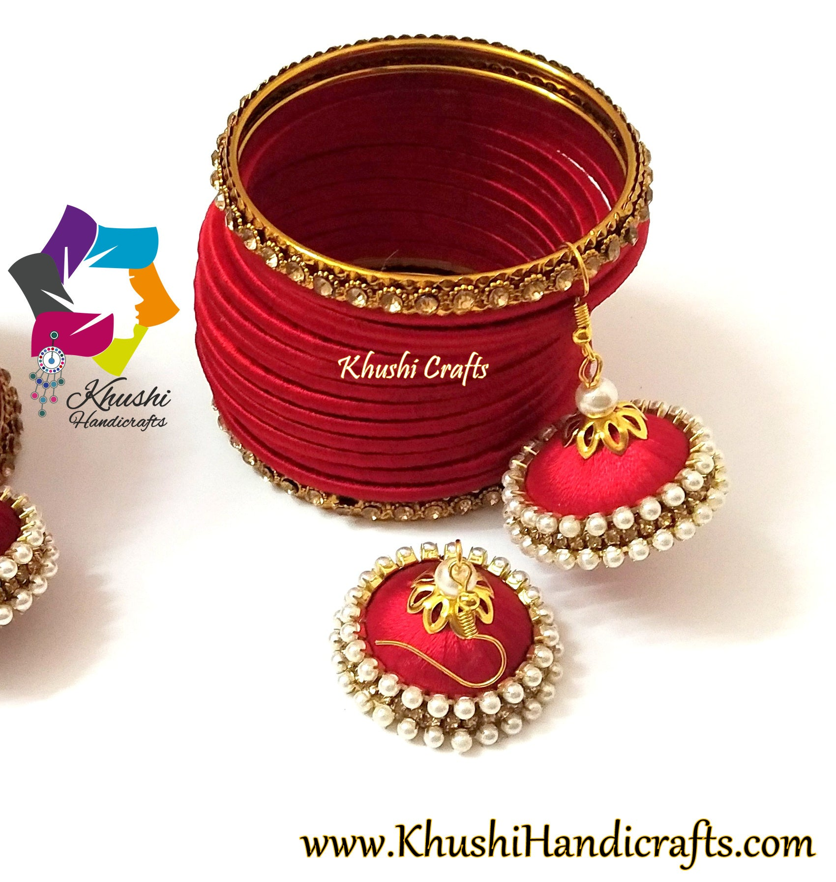 Red silk thread bangles