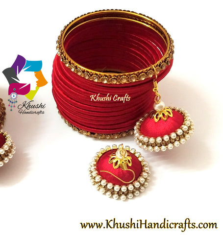 Plain Red Silk Bangles and Jhumkas