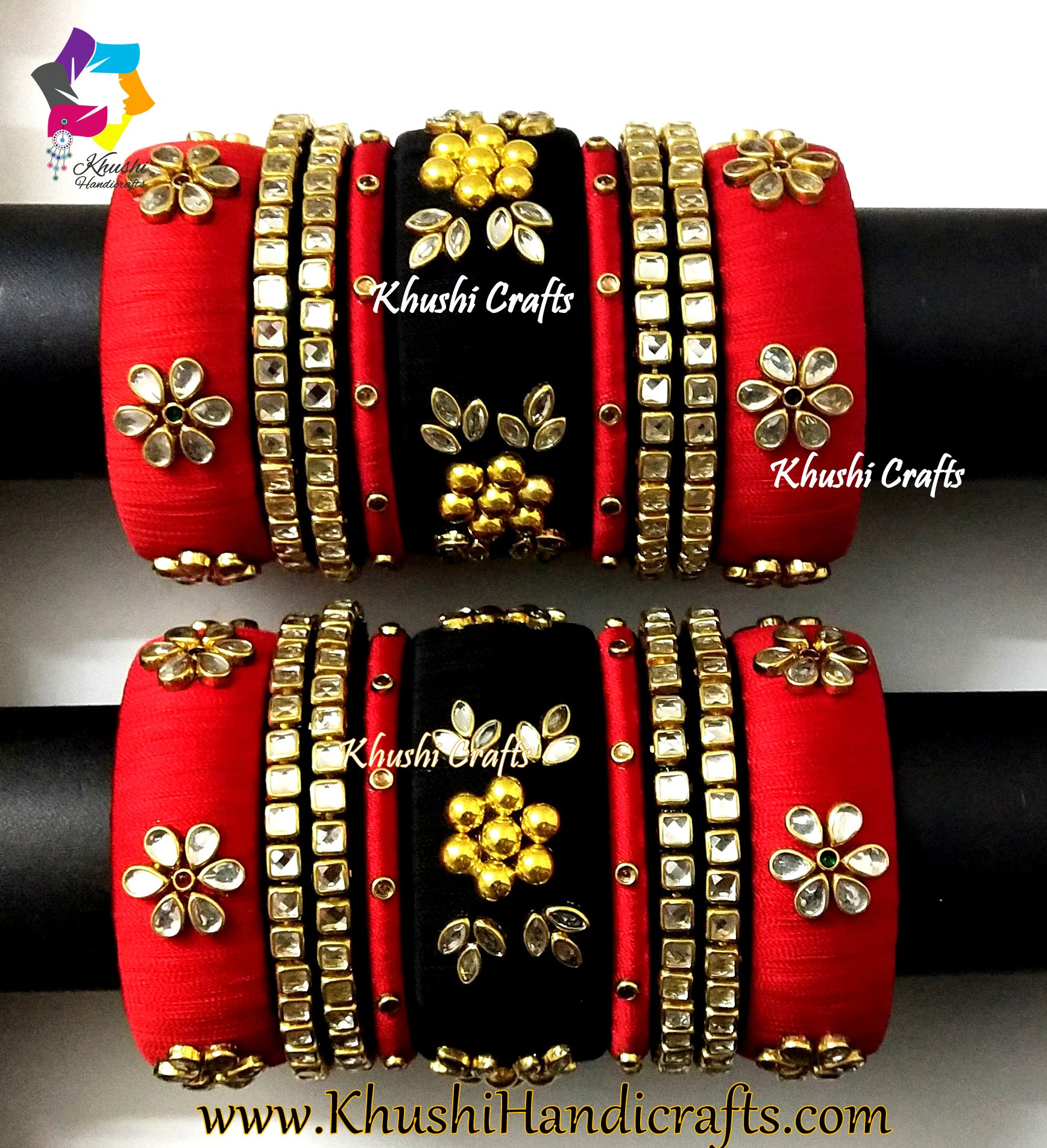 Red and Black designer Silk thread Bridal bangles