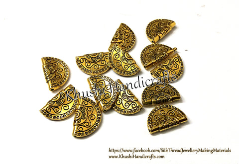 Antique Gold Fan shaped /Semi-circular spacer Beads.Size:2*1.3cm