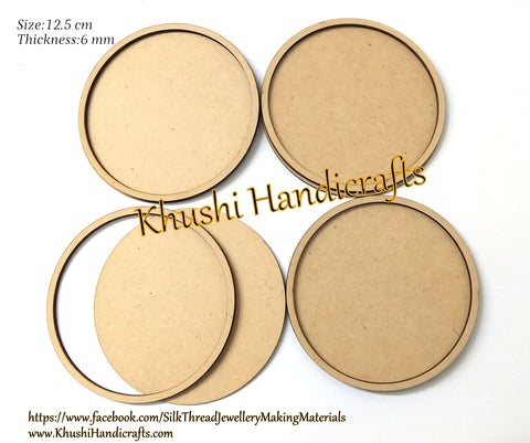 12.5cm Round MDF Rimmed Coaster bases for Resin,Epoxy resin and Decoupage.Set of 4 pieces!