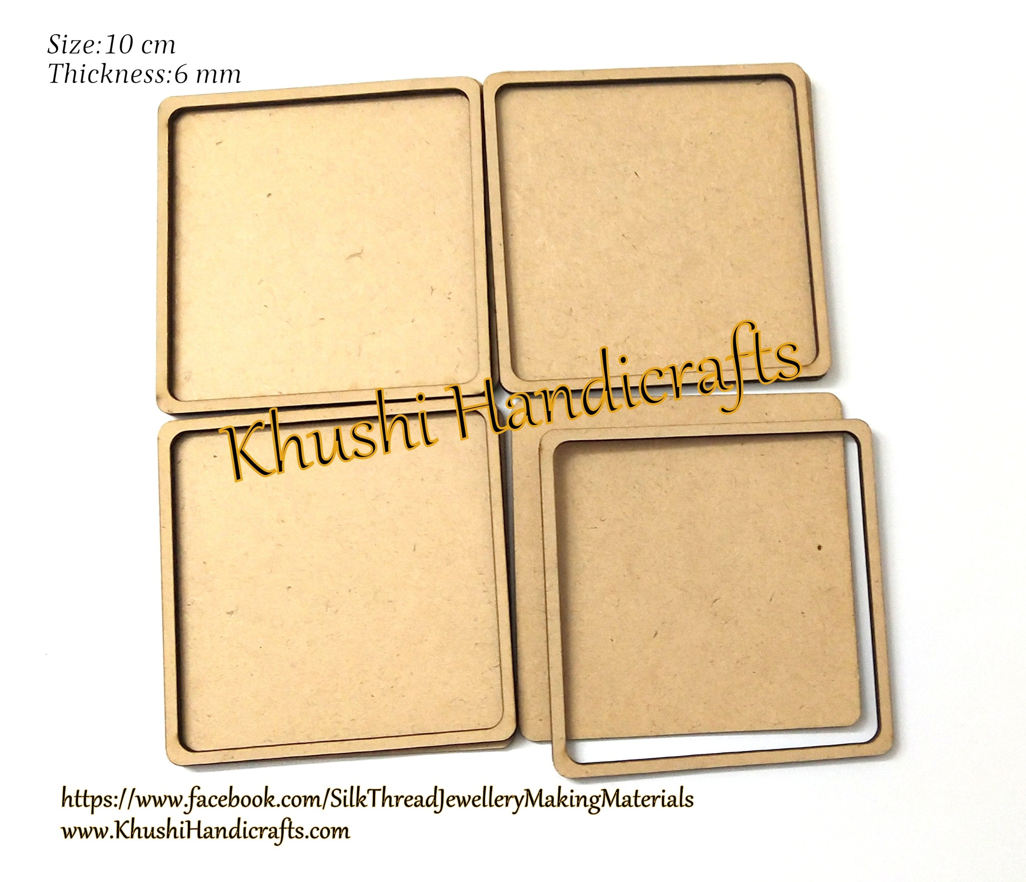10 cm Round MDF Rimmed Square Coaster bases for Resin,Epoxy resin and Decoupage.Set of 4 pieces!