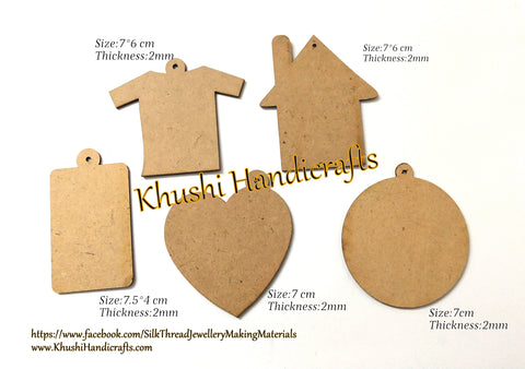 Keychain MDF cut out bases for Resin,Epoxy resin and Decoupage.Combo of 5 pieces!