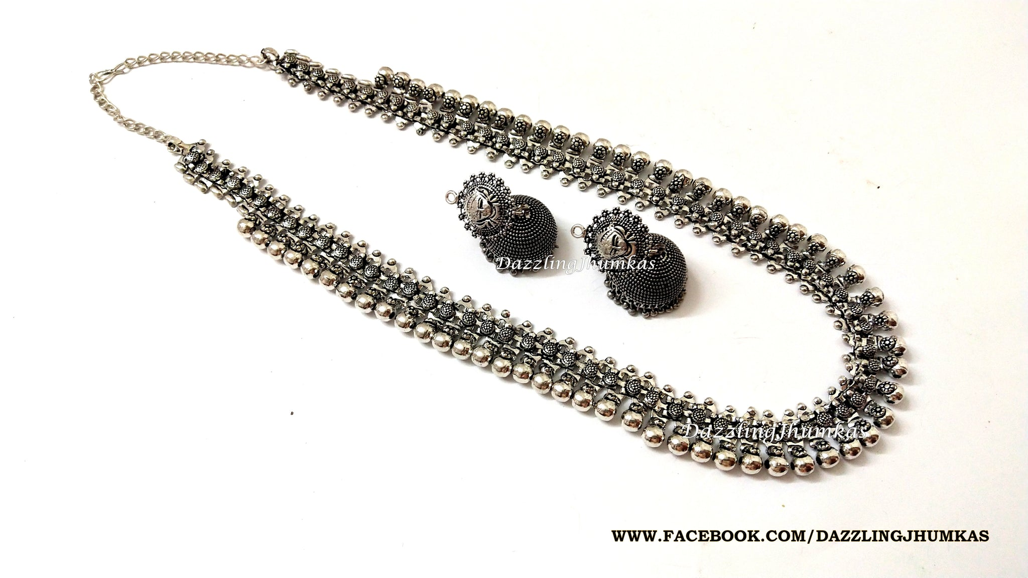 Oxidised German Silver Long haaram Necklace with Earrings Pattern 4 !