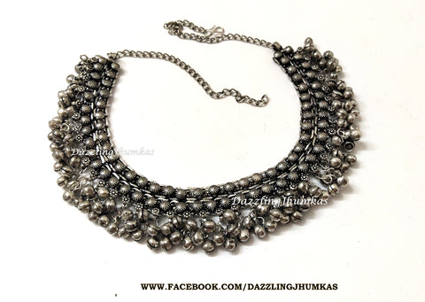German silver Oxidised Neklace choker with Gungaroo /ghungroo /dangler beads Pattern 3