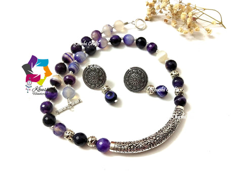 Shades of Purple gemstone handmade Ethnic agate necklace