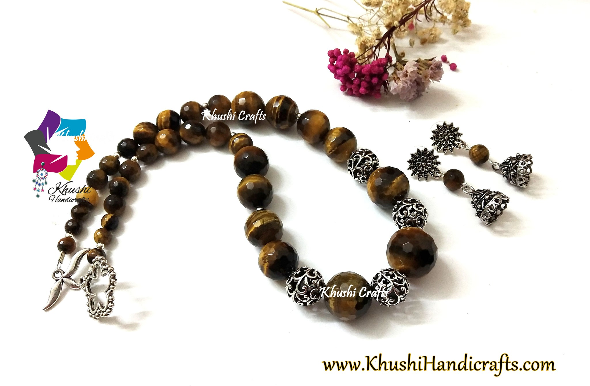 tiger eye black onyx designer gemstone necklace