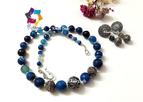 Shades of Blue gemstone handmade Ethnic agate necklace