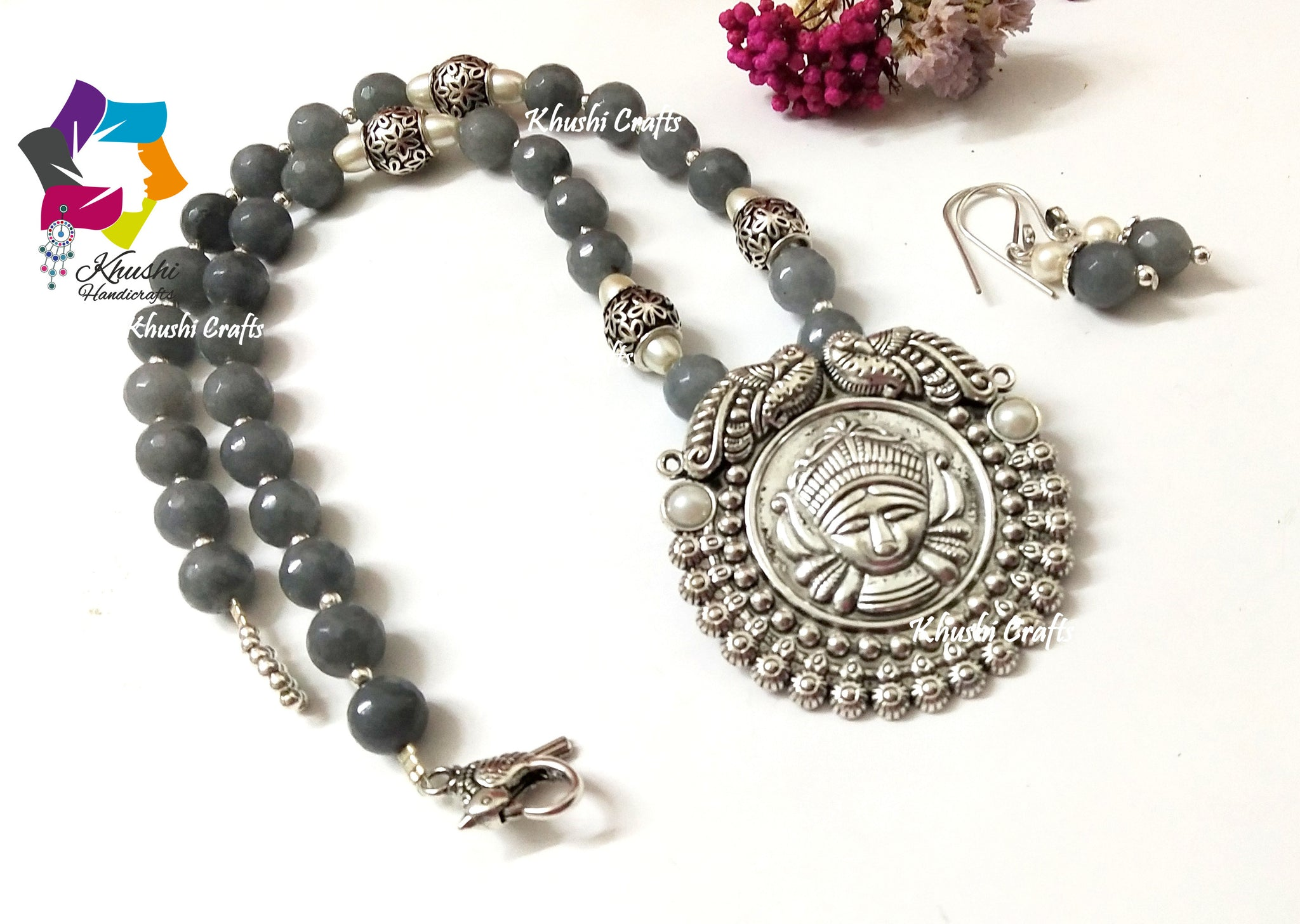 Grey gemstone handmade Ethnic agate necklace