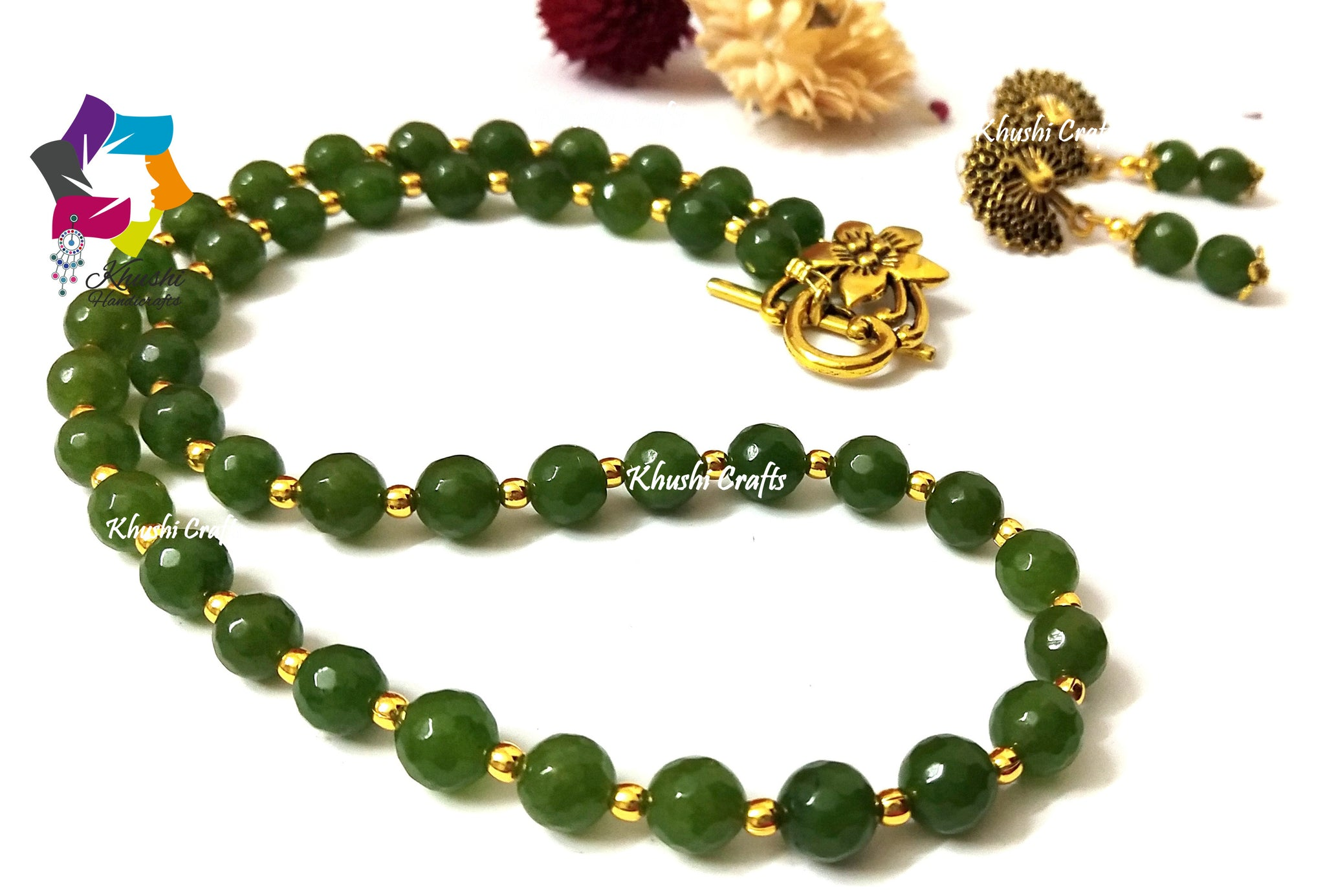 Green agate handmade necklace