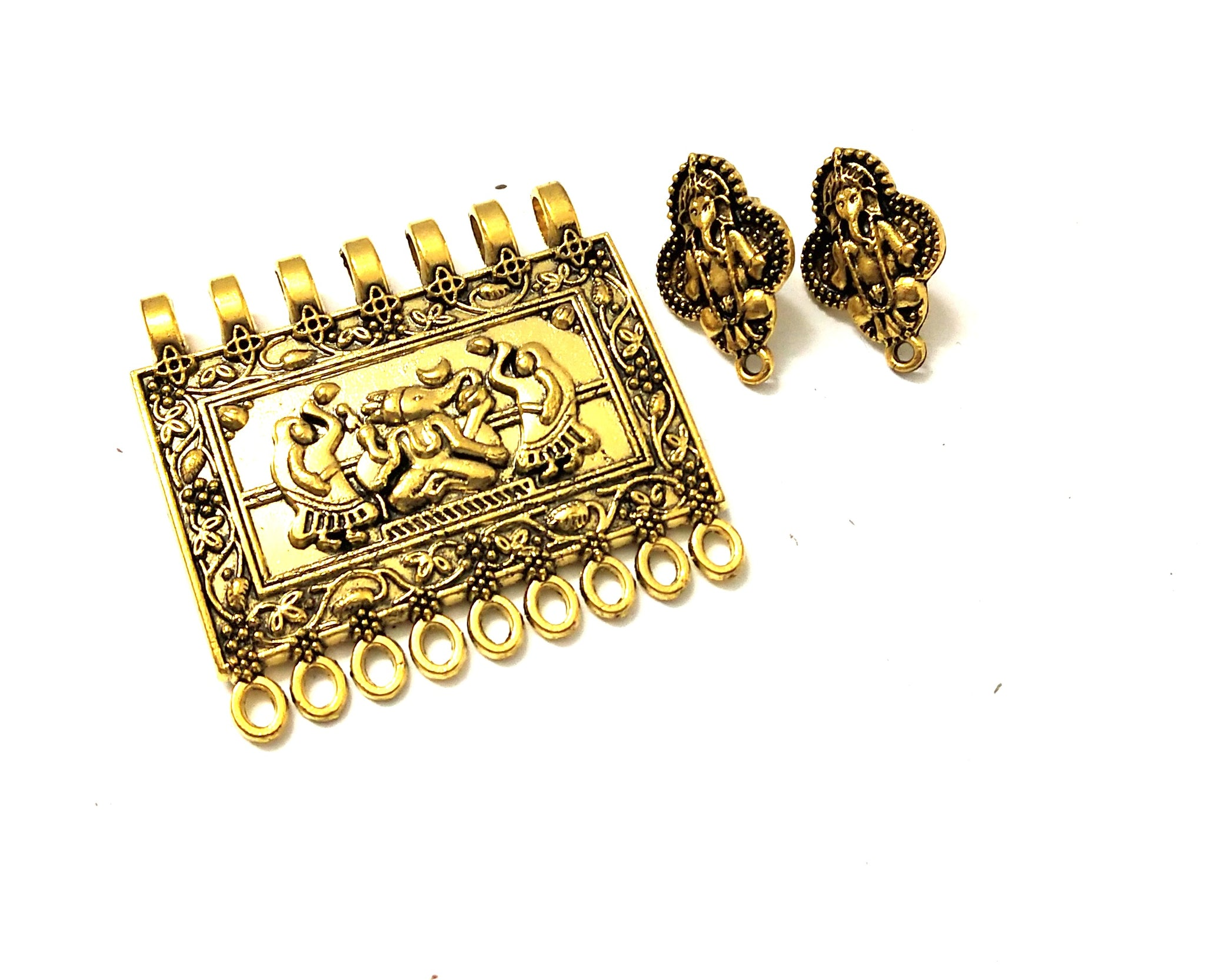 Antique Gold Ganesha Pendant Stud Combo for Jewellery Making Pattern 4