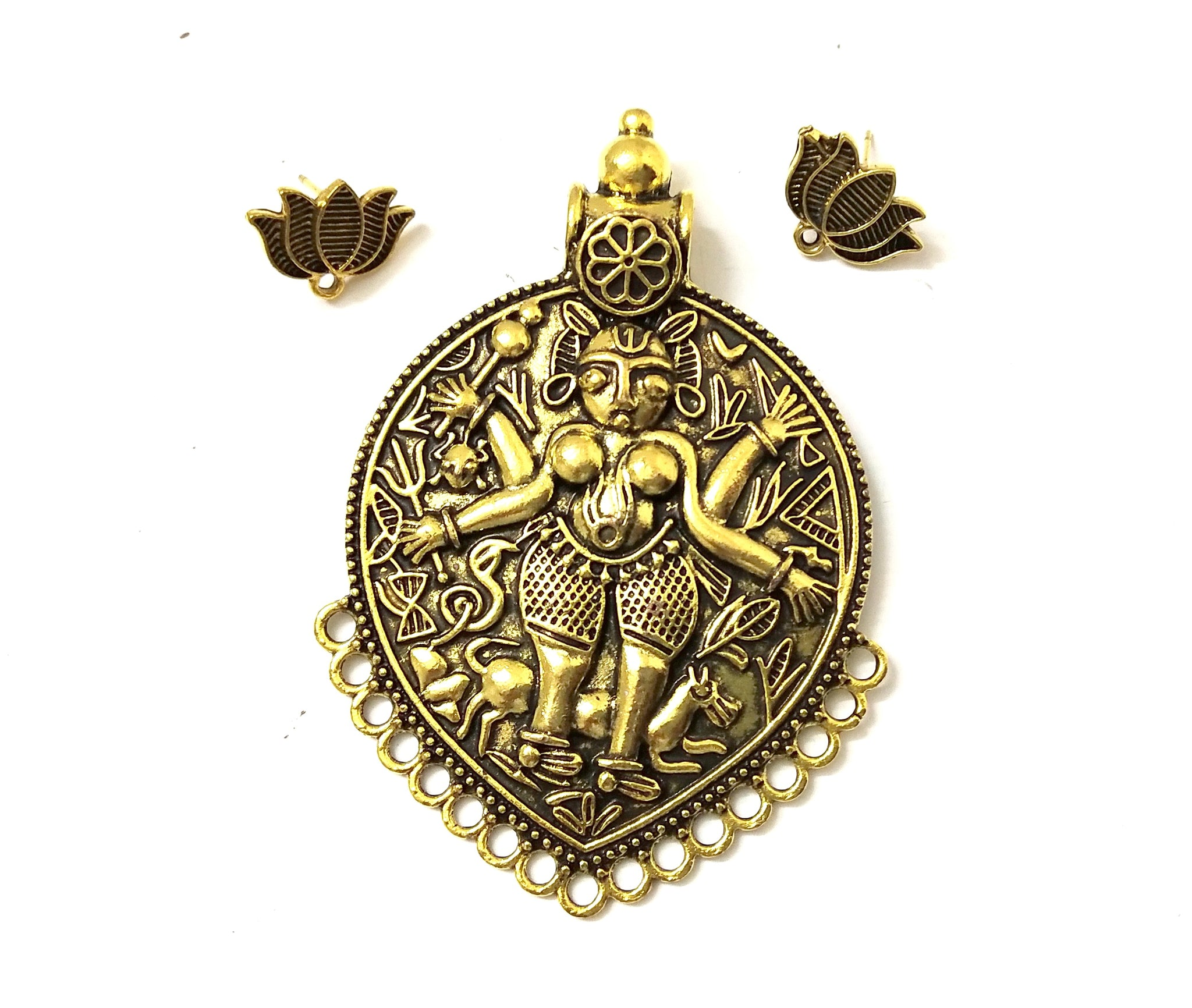 Antique Gold Designer Temple Pendant Stud Combo for Jewellery Making Pattern 29