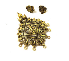 Antique Gold Designer Lakshmi Pendant Stud Combo for Jewellery Making