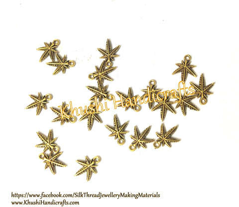 Antique Gold Leaf spacer charms Pattern 3.Sold as a set of 60 pieces!