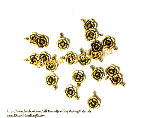 Antique Gold Flower Rose charms.Pack of 20 pieces!