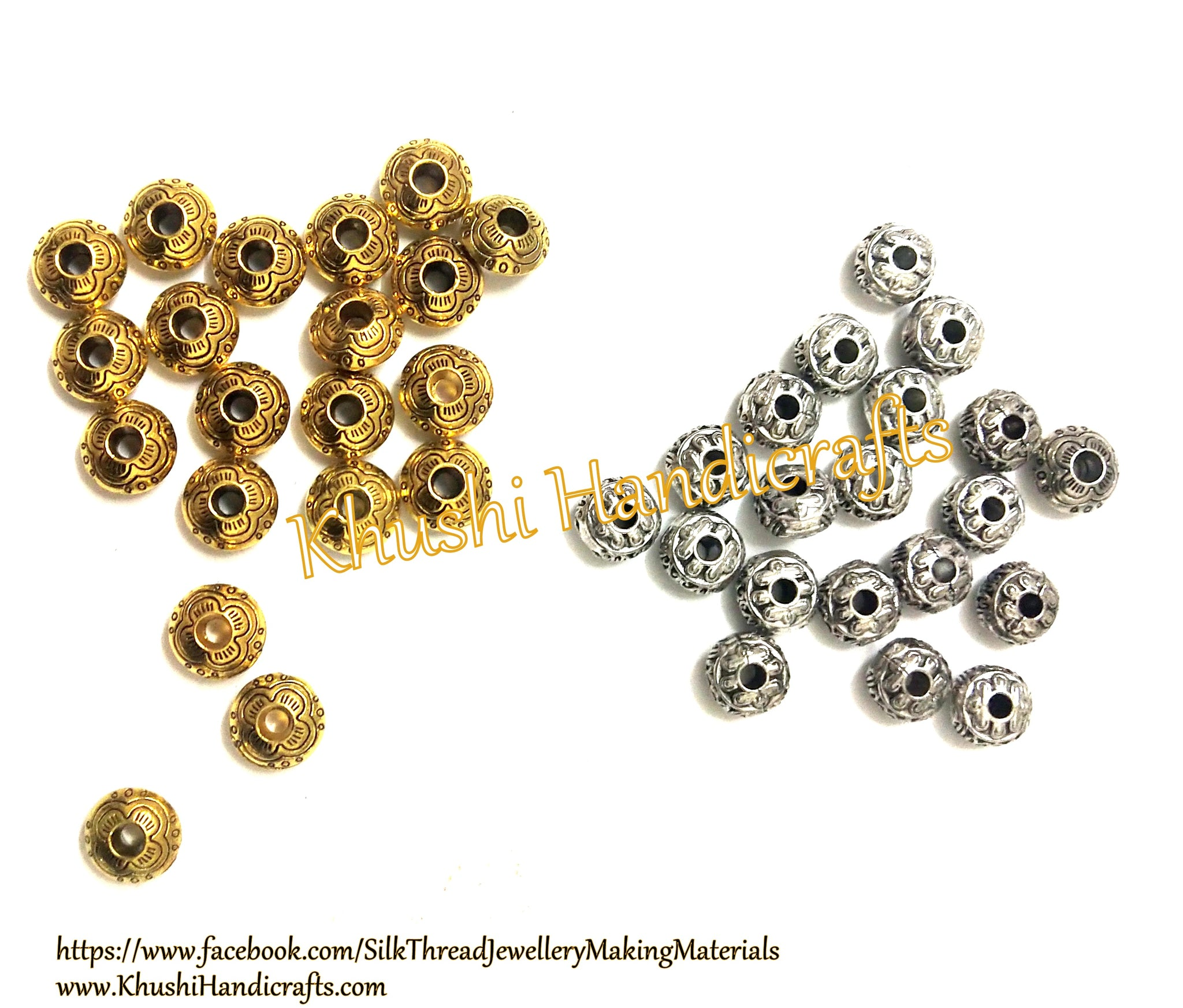 Antique Gold  silver 10mm Round metal Designer spacer Beads. Pack of 40 pieces!