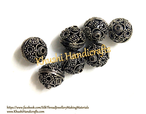 Antique Silver Finish Filigree Beads. Pack of 10 pieces!