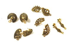 Antique Gold Peacock Studs Combo