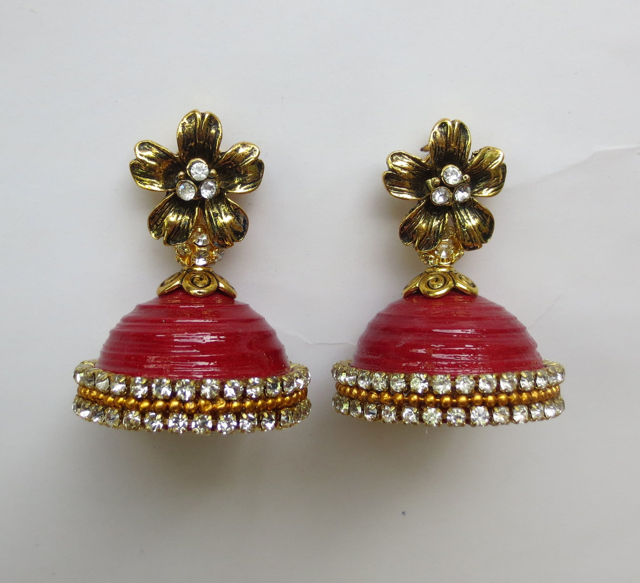 Red party wear Jhumkas! - Khushi Handmade Jewellery