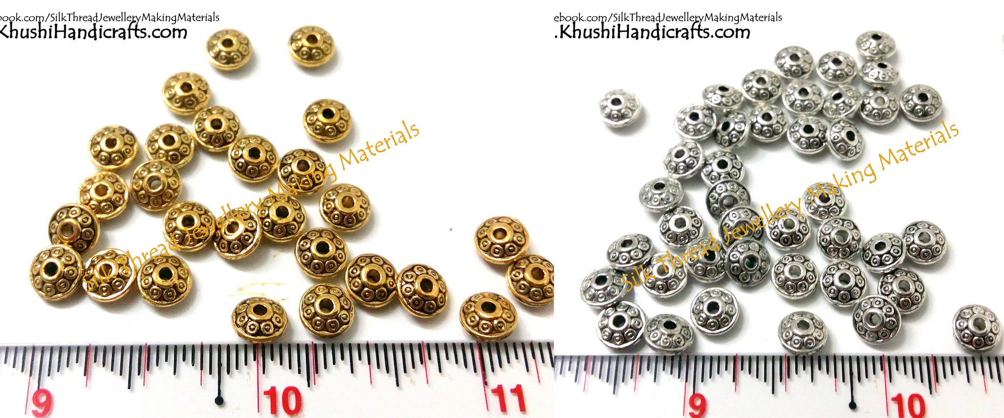 Designer Antique Gold and Silver circular spacer beads - Khushi Handmade Jewellery