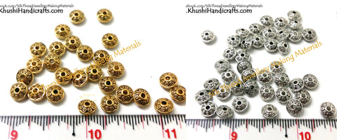 Designer Antique Gold and Silver circular spacer beads.Sold as a pack of 10 pieces -SP50