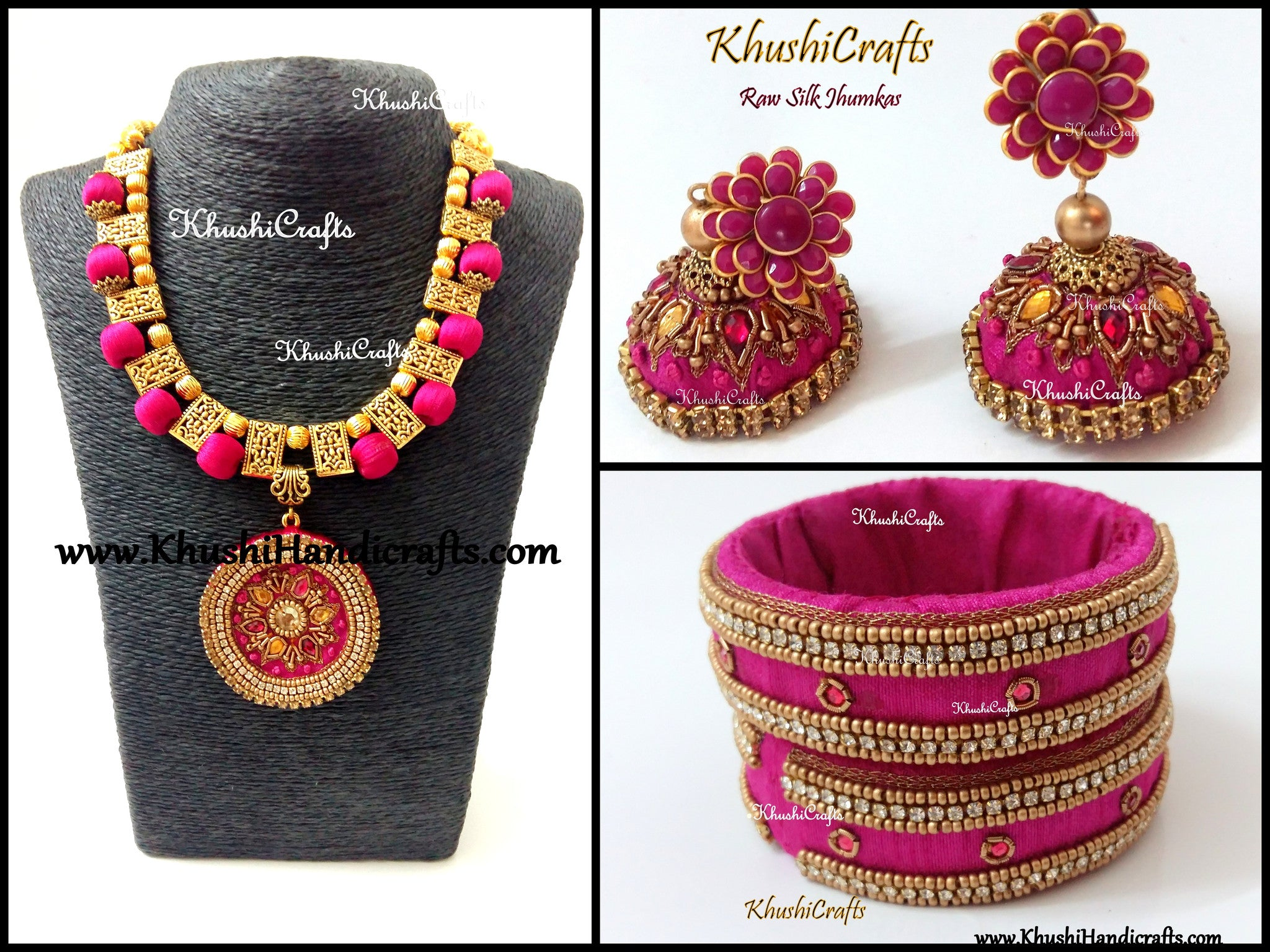 Buy Pink Raw Silk Necklace Set With Bangles With Hand Embroidery