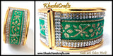 Green Blue Fabric work Kada Bangle