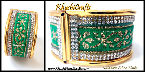 Green Fabric work Kada Bangle