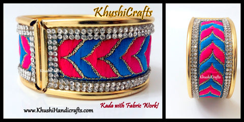 Blue and Pink Fabric work Kada Bangle