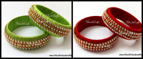 Party Wear Kada Style Designer Silk Bangles in Red /Green.Sold as a pair!