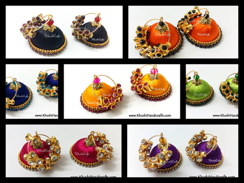 Silk thread Hooped Jhumkas with grand drum shaped stones