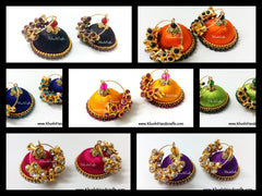 Silk thread Hooped Jhumkas with grand drum shaped stones - Khushi Handmade Jewellery