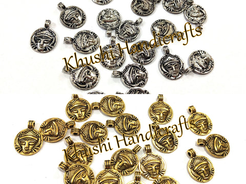 Antique Gold Silver Durga spacer charms.Sold as a set of 20 pieces!