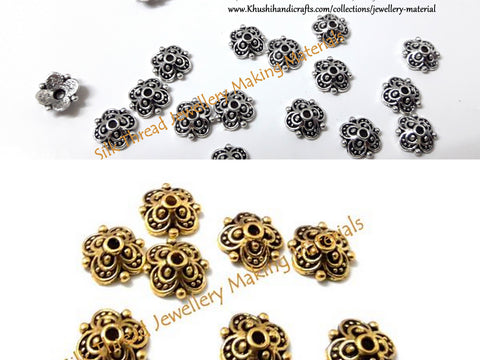 Antique Gold/ Silver  Flower pattern Bead Cap used in Jewelry making! -BC4