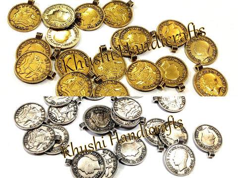 Antique Gold Silver Coin spacer charms.Sold as a set of 20 pieces!