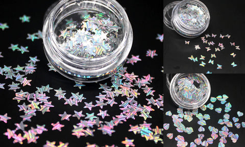 Small Holographic Silver Butterflies star Love Heart Patterns For Resin Crafts ,Jewelry Mold Filling and Nail art