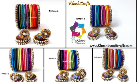 Multi-color Handmade Silk Thread Bangles with Jhumkas-Size 2.8