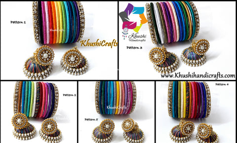 Multi-color Handmade Silk Thread Bangles with Jhumkas-Size 2.6