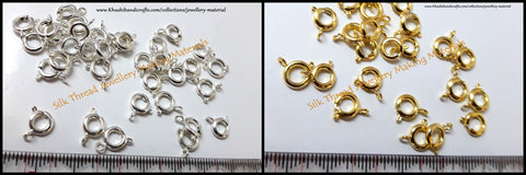 Round / Circular Spring Ring Clasps in Gold/Silver.Sold per piece! -T16