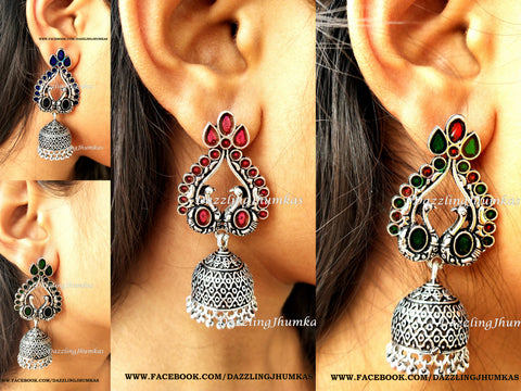 Sale ! German Silver /Designer Oxidised Peacock Enamel Jhumkas