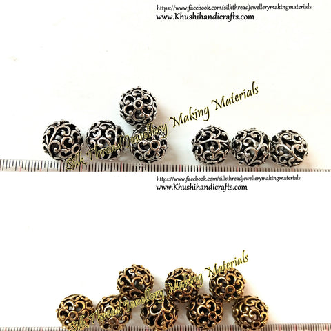 Antique Gold / silver 12mm Round metal Designer spacer Beads.Sold per piece!