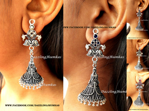 Peacock inspired Oxidised Lady Jhumka earrings for girls and Women!
