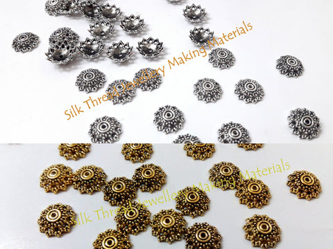 Antique Gold / Silver Bead Cap 12mm Pattern 2 -BC24