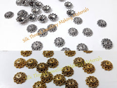 Antique Gold / Silver Bead Cap 12mm Pattern 2 -BC24 - Khushi Handmade Jewellery