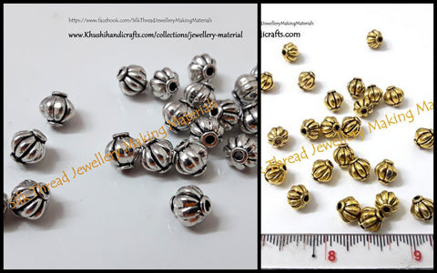 Antique Gold /Silver Lantern spacer beads.Sold as a set of 10 pieces -SP7