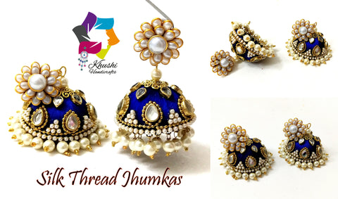 Royal Blue Designer Bridal Silk thread Jhumkas with Ghungroo and Kundan work!