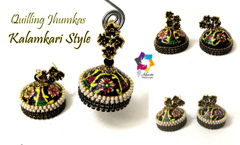 Quilling Jhumkas, Beautiful Paper Stud Earrings with Kalamkari work