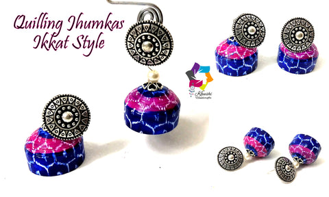 Quilling Jhumkas, Beautiful Paper Stud Earrings with Ikkat work-Indian Art