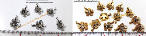 Antique Gold /Silver Flower charms/Spacers.Sold as a set of 20 pieces!
